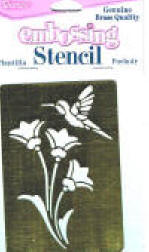 One of our collectible stencils - hummingbird and flowers